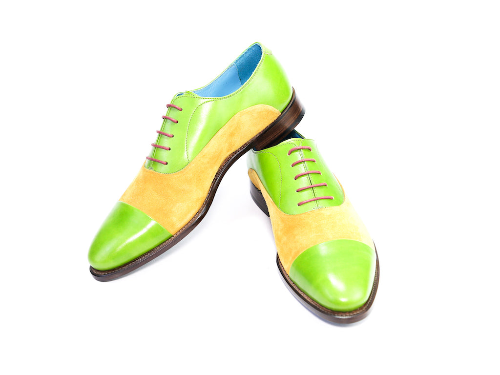 42 EE CLASSIC SHOES, GREEN PATINA & YELLOW SUEDE - READY TO WEAR