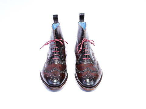 42 EEE BROGUE BOOTS, BROWN PATINA - READY TO WEAR