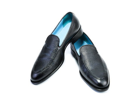 43 EE BERNARD LOAFERS, BLACK PEBBLE GRAIN - READY TO WEAR