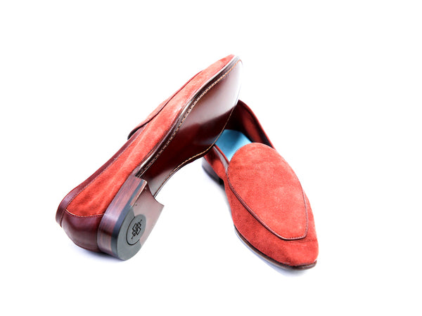 43 EE BERTRAND LOAFERS, RED SUEDE - READY TO WEAR