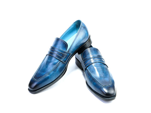 43 EE ALEX LOAFERS, BLUE PATINA - READY TO WEAR