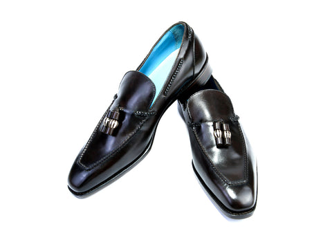 44 EEE SAIGON TASSEL LOAFERS, EBONY PATINA - READY TO WEAR