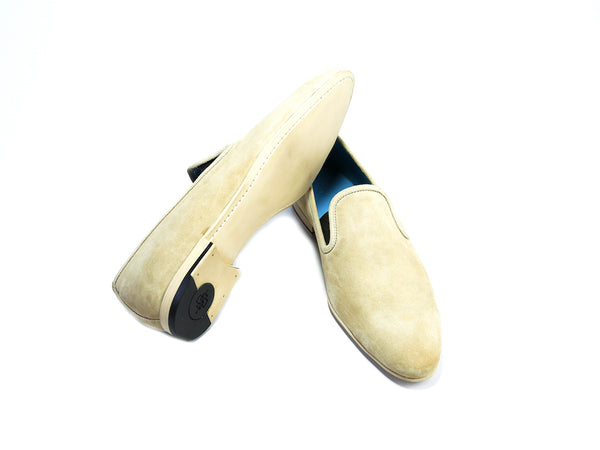 44 EE MARTIAL SLIPPER LOAFERS, BEIGE SUEDE - READY TO WEAR