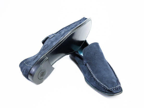 44 EEE BOXER LOAFERS, BLUE SUEDE - READY TO WEAR