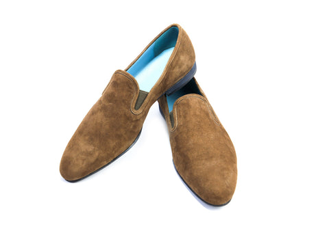 44 EEE MARTIAL SLIPPER LOAFERS, BROWN SUEDE - READY TO WEAR
