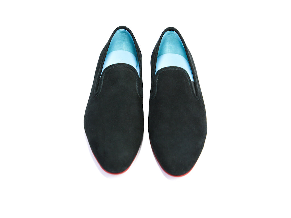 44 EEE MARTIAL SLIPPER LOAFERS, BLACK SUEDE - READY TO WEAR