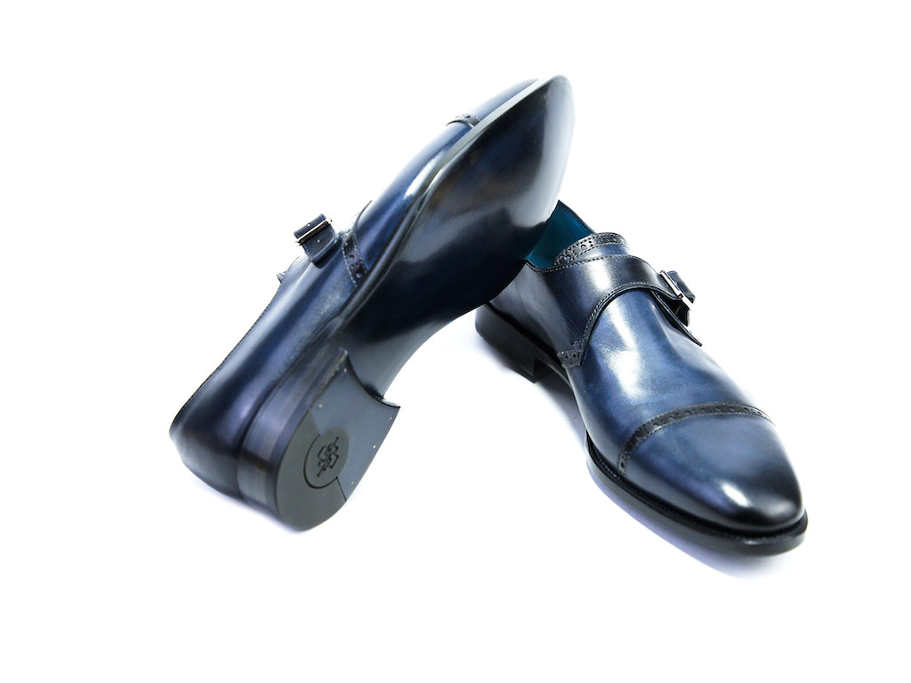 45 EEE CARDINAL MONK SHOES, BLUE PATINA - READY TO WEAR