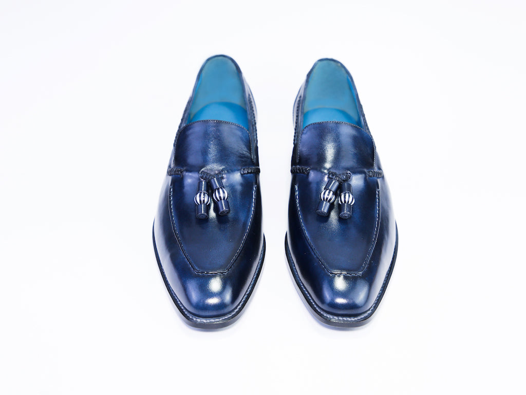 47 N SAIGON TASSEL LOAFERS, BLUE PATINA - READY TO WEAR