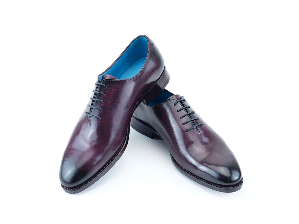 The Aristocrat whole cut leather dress shoes in aubergine patina colour - Dominique Saint Paul