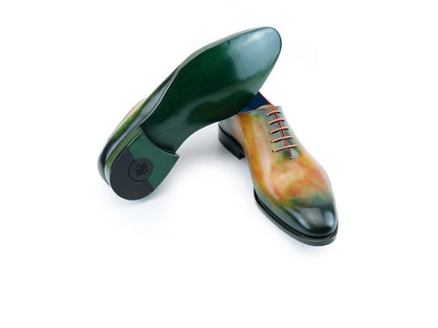 Aristocrat whole cut shoes with green orange flame patina