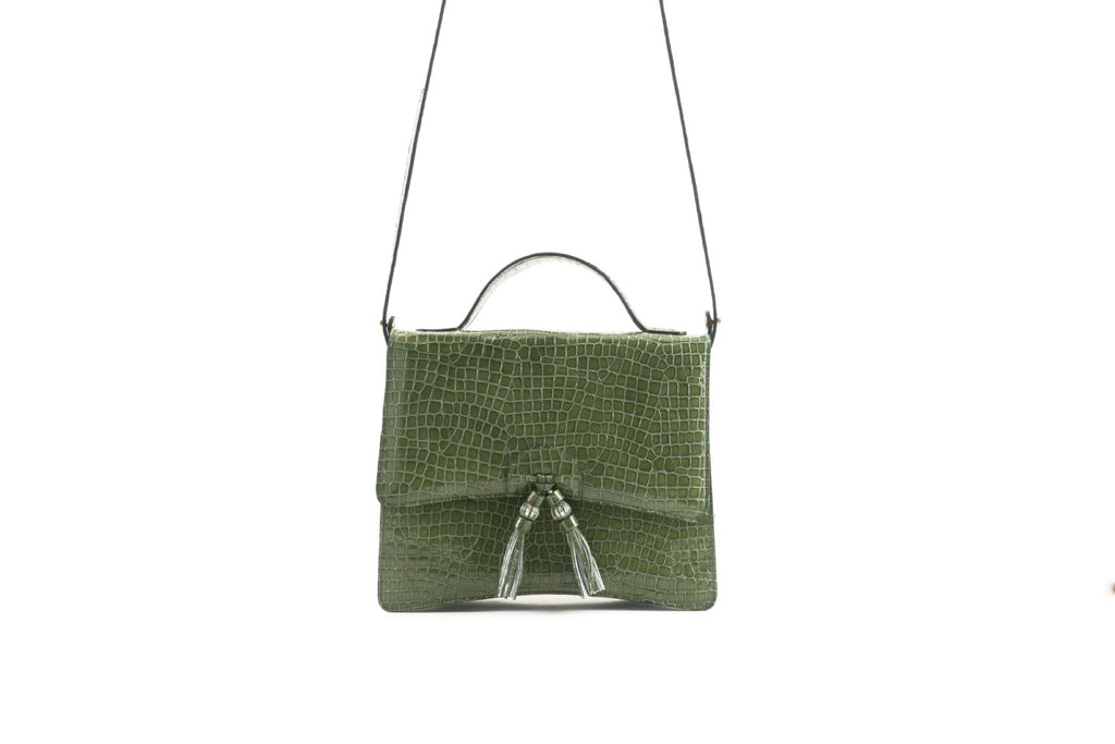 Bertha handbag in Italian patent leather emboss crocodile