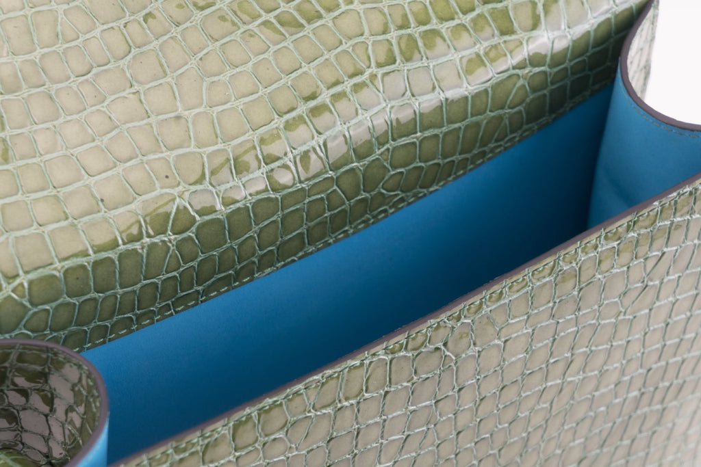 Bertha handbag in green patent leather with crocodile print