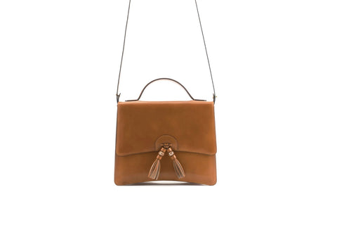Bertha handbag in hand painted leather London tan patina