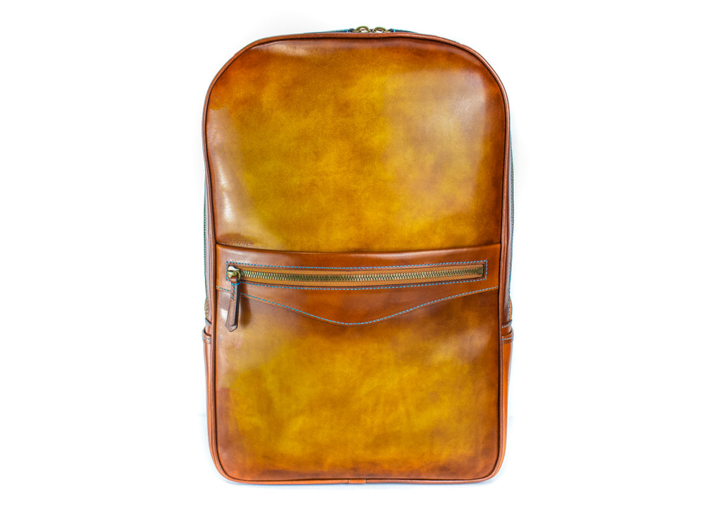Halcyon leather backpack hand painted patina