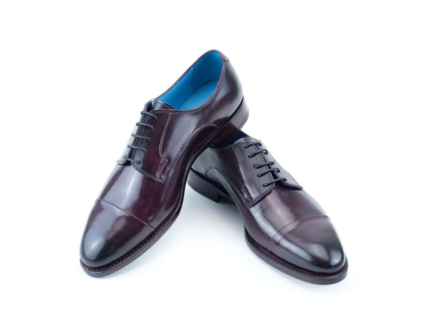 Bason Derby toe cap leather shoes in violetto hand painted patina - Dominique Saint Paul