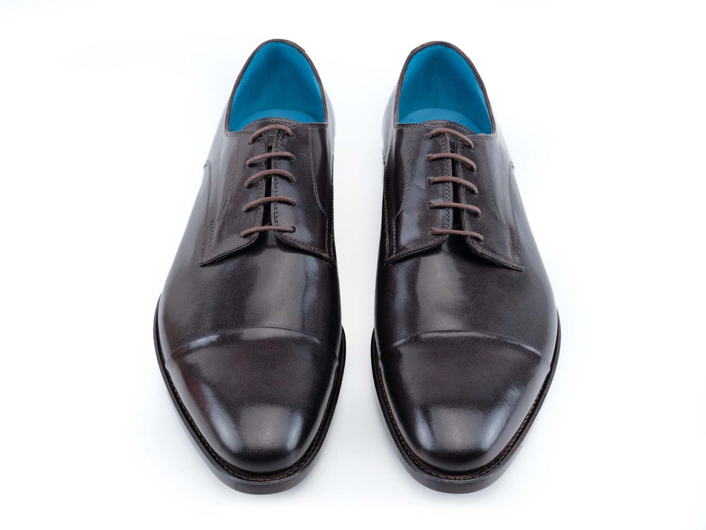 Bason Derby shoes handmade in testa di Moro hand painted patina custom made