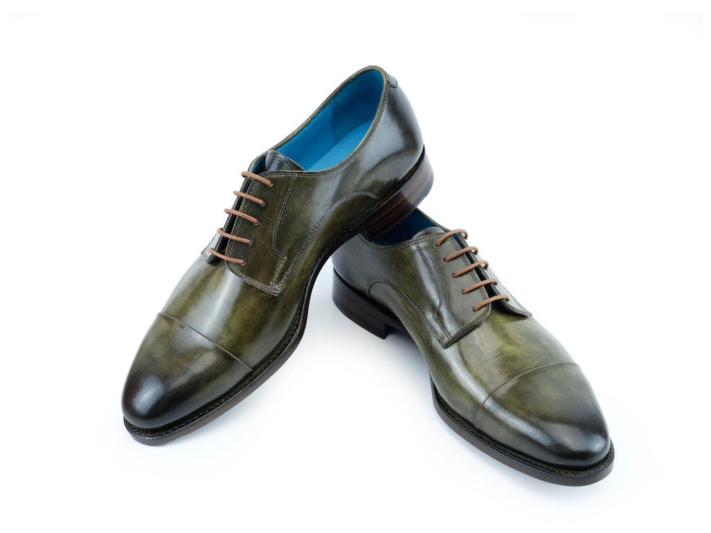 Bason derby toe cap shoes hand painted patina