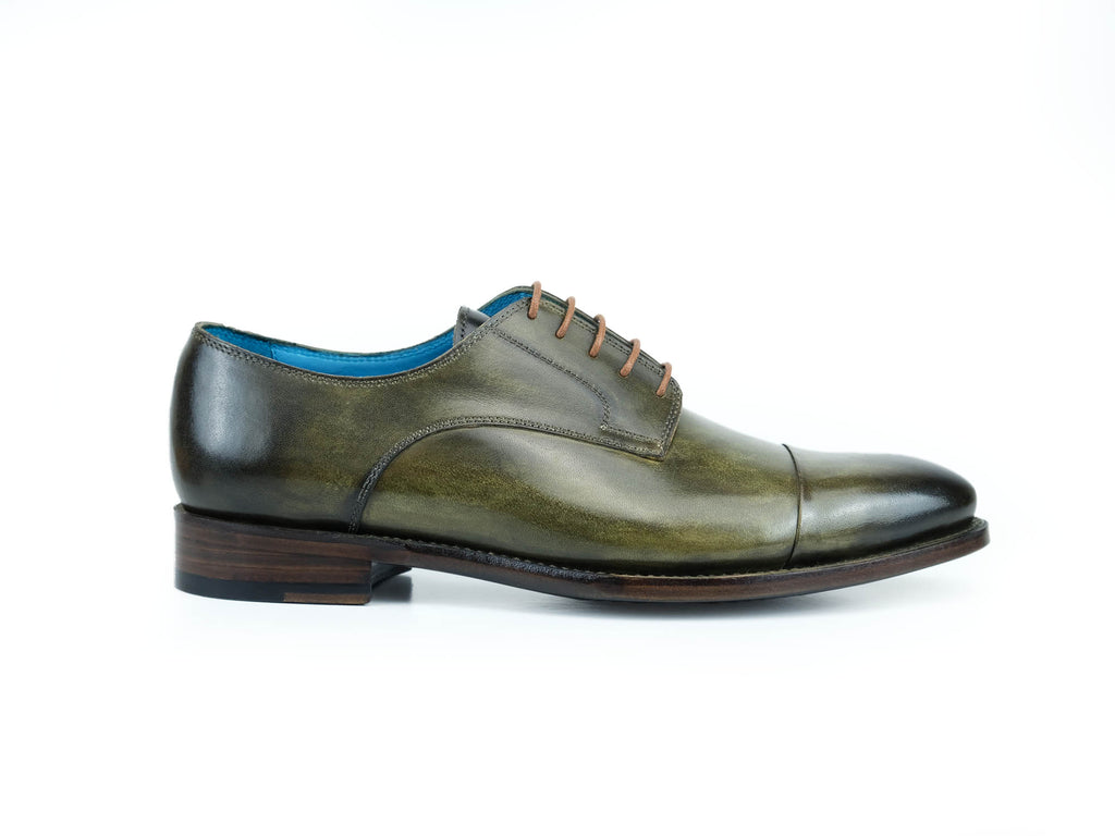 Bason Derby shoes hand made in moorland green hand painted patina custom made saigon