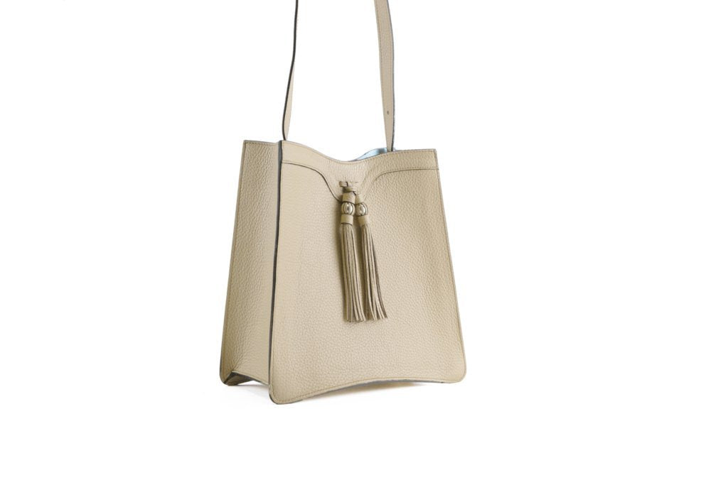 Beatrice handbag in pebble grain leather bag Beige