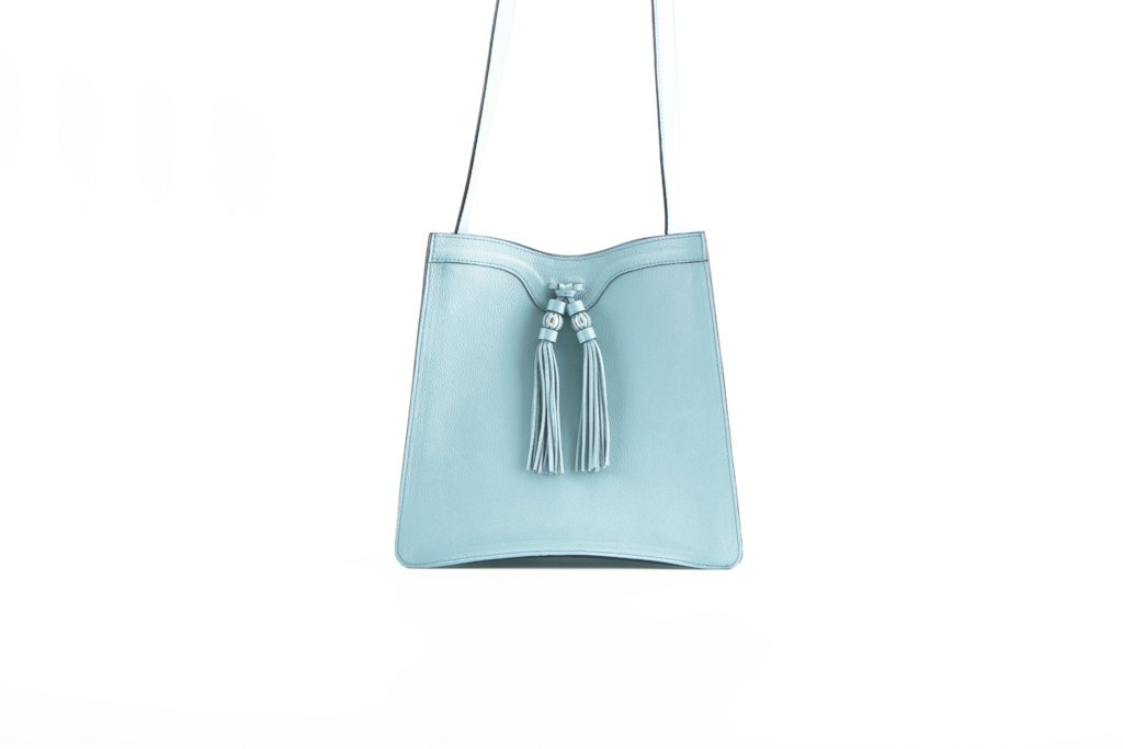 Beatrice handbag in pebble grain leather bag Turquoise