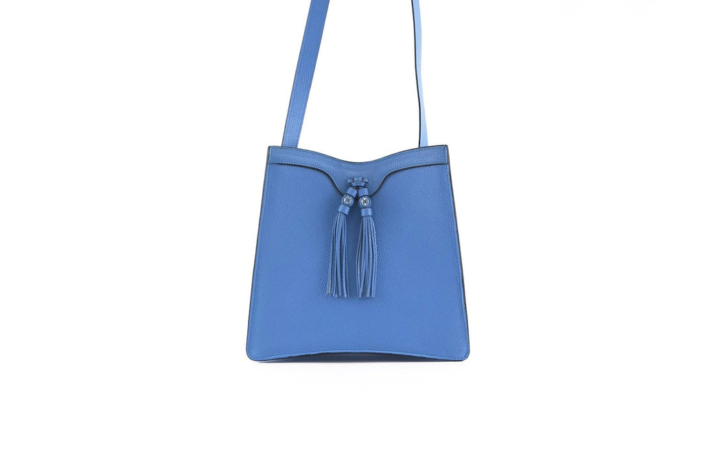 Beatrice handbag in pebble grain leather bag Coco blue