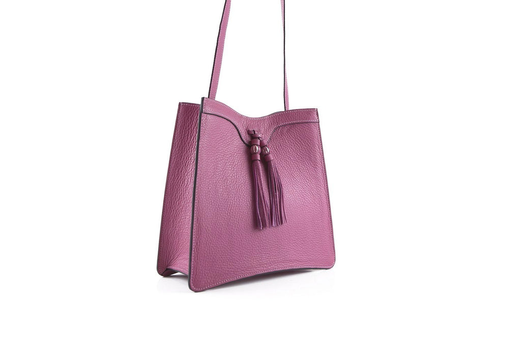 Beatrice handbag in pebble grain leather bag dark fuxia pink