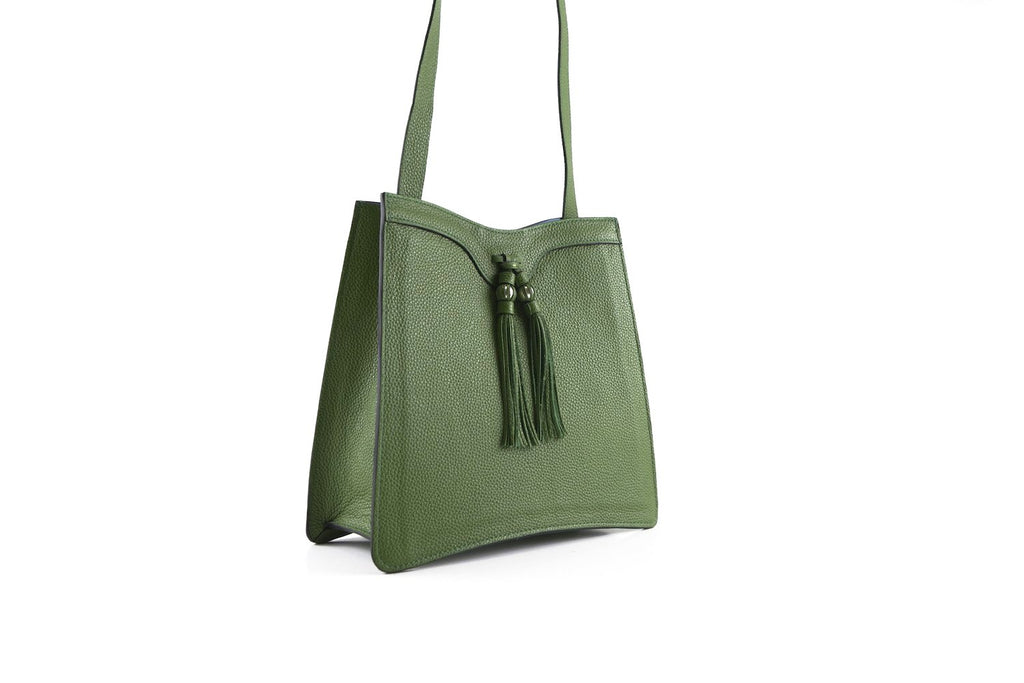 Beatrice handbag in pebble grain leather bag moss green