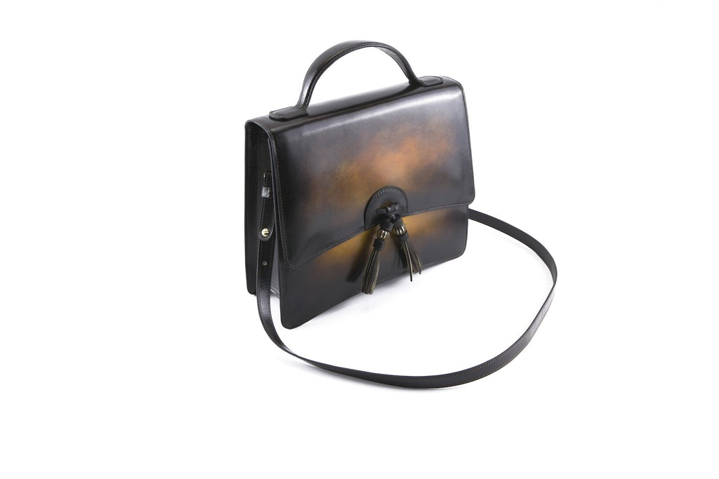 Bertha handbag in hand painted leather, woodland patina