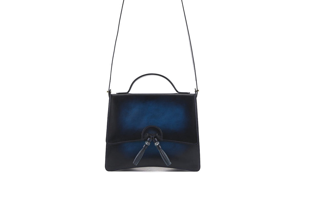Bertha handbag in hand painted leather, midnight blue patina