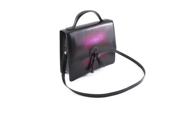 Bertha handbag in hand painted leather, purple patina