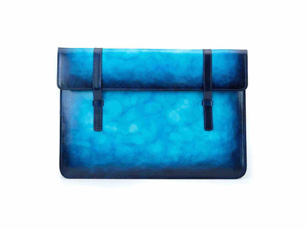Bonard laptop computer case in aqua azzuro patina