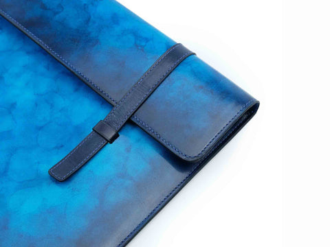 Bonard leather laptop computer case patina cobalt marble