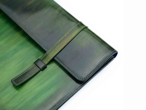 Bonard laptop computer case in green wash patina