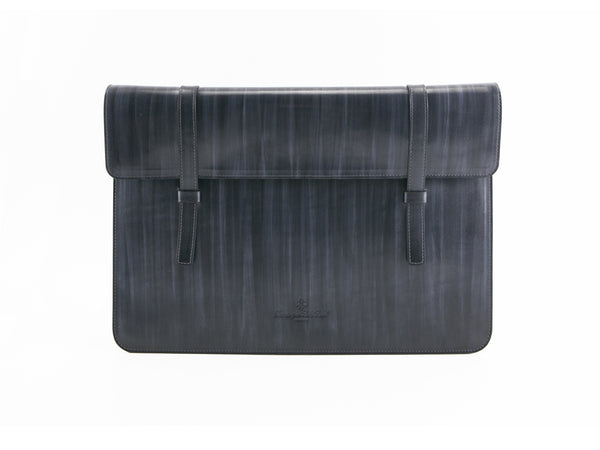 Bonard laptop computer case in grey wash patina, hand made and hand painted. We use all is Italian leather