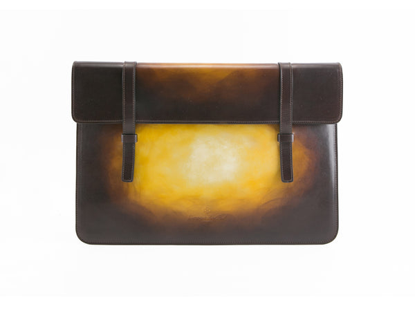 Bonard laptop computer case in Saigon leather wash patina, hand made and hand painted. We use all is Italian leather