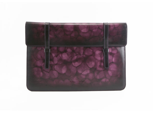 Bonard laptop computer case in purple marble patina, hand made and hand painted. We use all is Italian leather