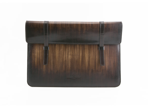 Bonard laptop computer case in wood patina, hand made and hand painted. We use all is Italian leather