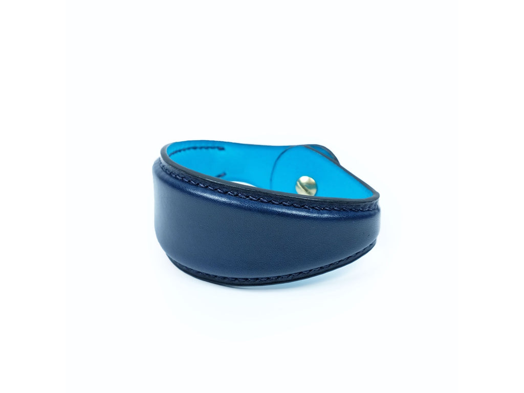 Leather bulger bracelet in midnight blue patina hand coloured