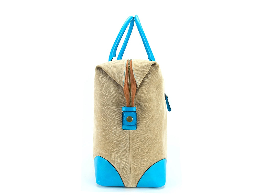 Canton leather weekend bag Italian leather printed suede