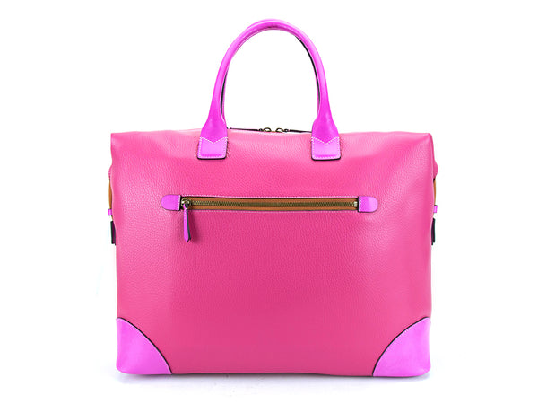 Canton Italian pebble grain leather bag in fuxia