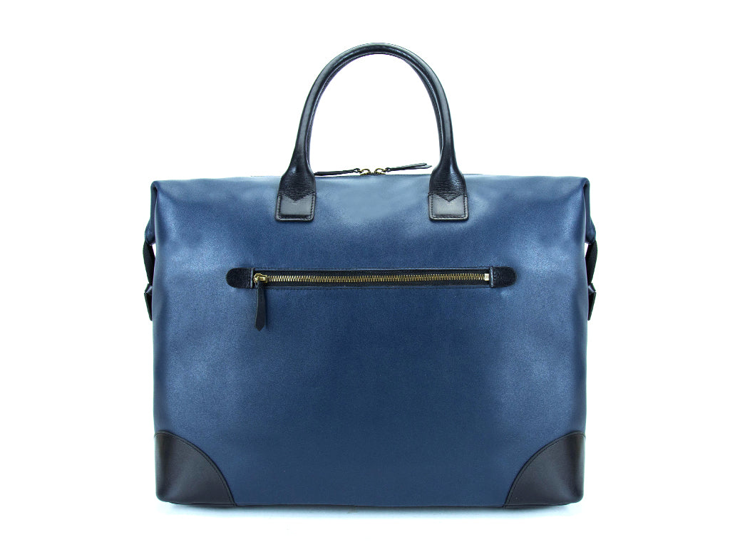 Canton leather weekend bag Italian leather grain blue