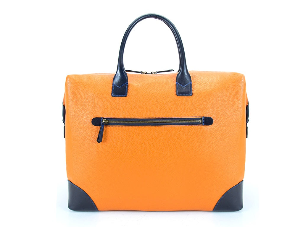 Canton leather weekend bag Italian leather in orange