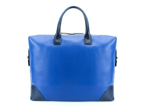 Canton leather weekend bag Italian leather blue