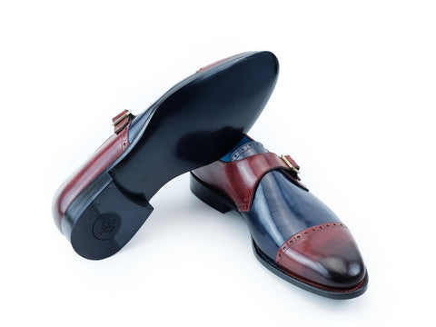 Cardinal single monk shoes Burgundy, midnight blue patina