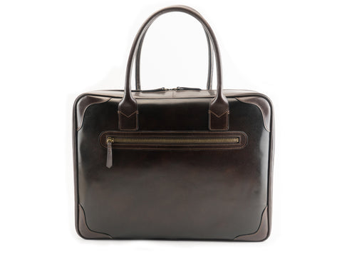 Charner bag in dark brown patina hand painted leather
