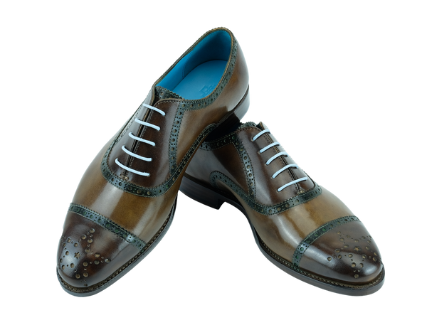 Brogue shoes with hand coloured patina