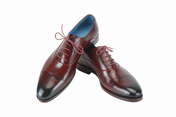 Oxford shoes with custom made patina and Italian leather