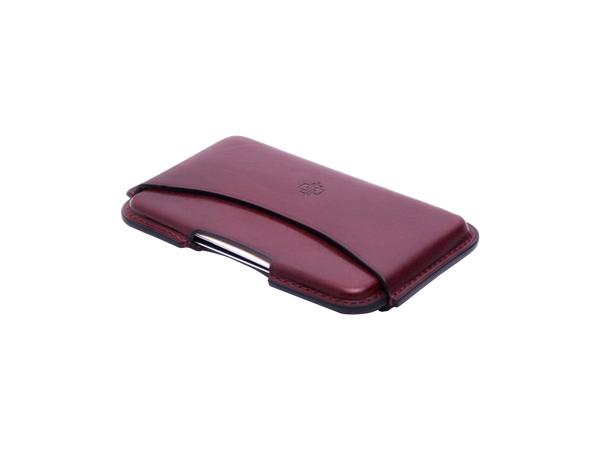 Classic leather business card holder hand painted patina Burgundy