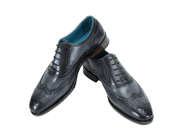 Countryman full brogue shoes charcoal grey striped patina