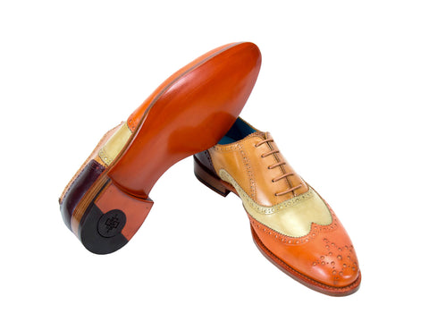 Countryman full brogue shoes orange tan four colour patina